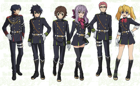 De izquiera a derecha: Guren, Yuu, Yoichi, Shinoa,