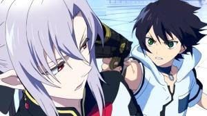 Yuu amenazando a Ferid para escapar.